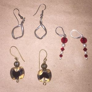 Set of 3 Earrings: Silver, Beaded, and Glass